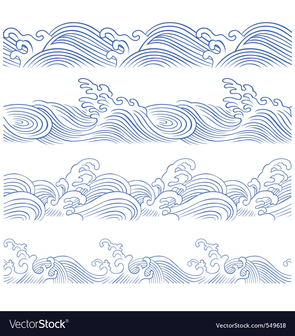 Wave borders vector