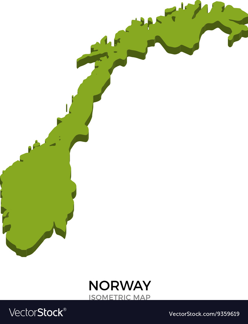 Isometric map of norway detailed vector