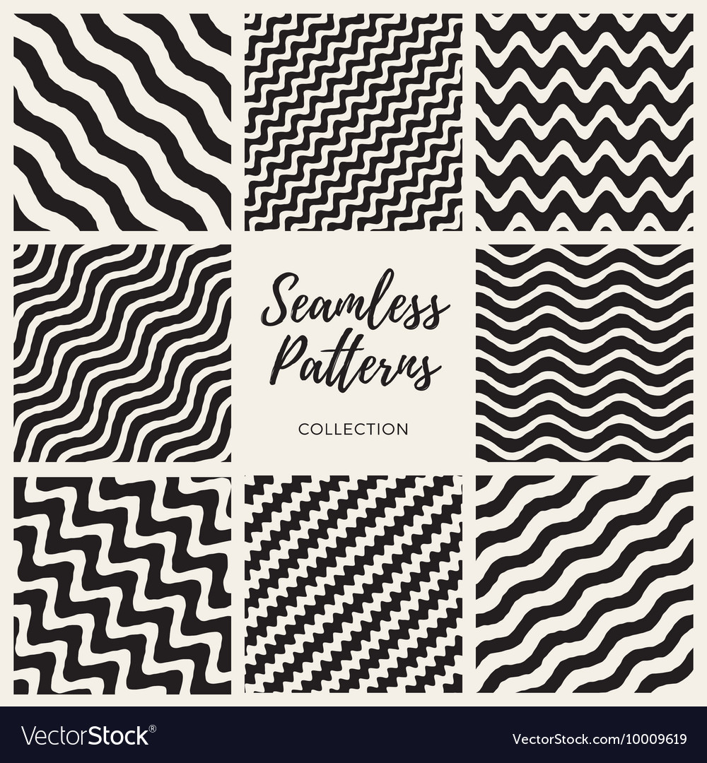 S seamless hand drawn wavy lines patterns vector