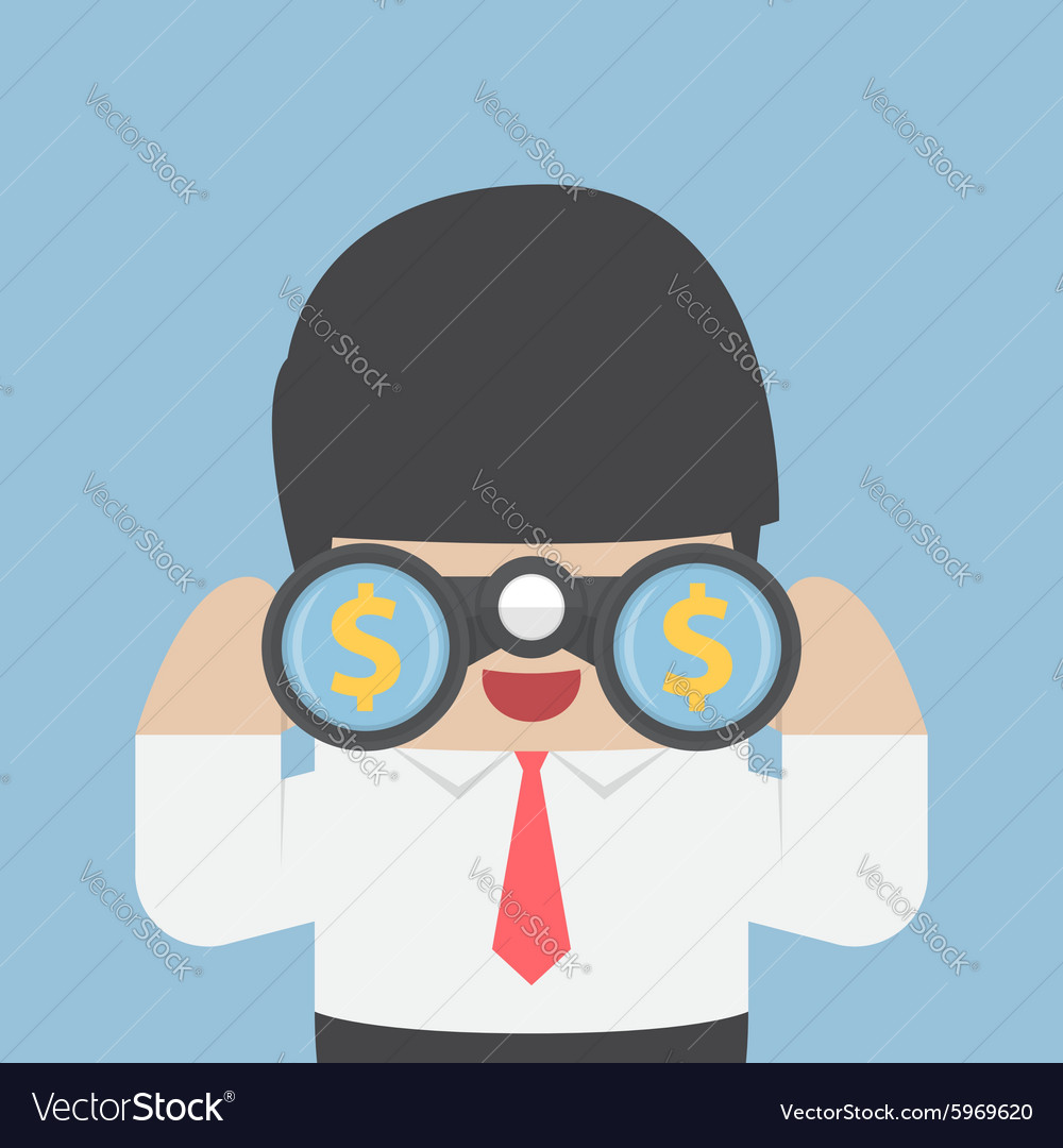 Businessman looking through binoculars vector