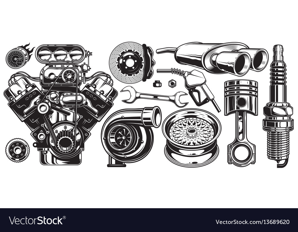 Set of monochrome car repair service elements vector