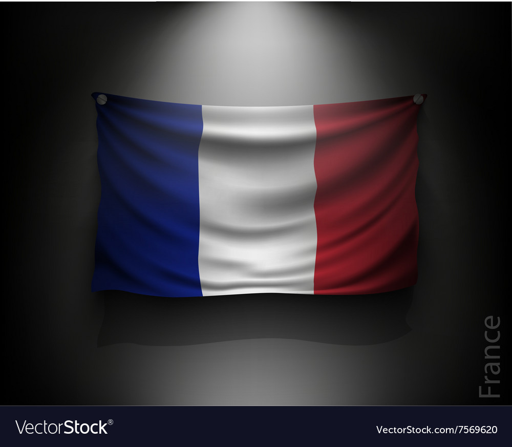 Waving flag france on a dark wall vector