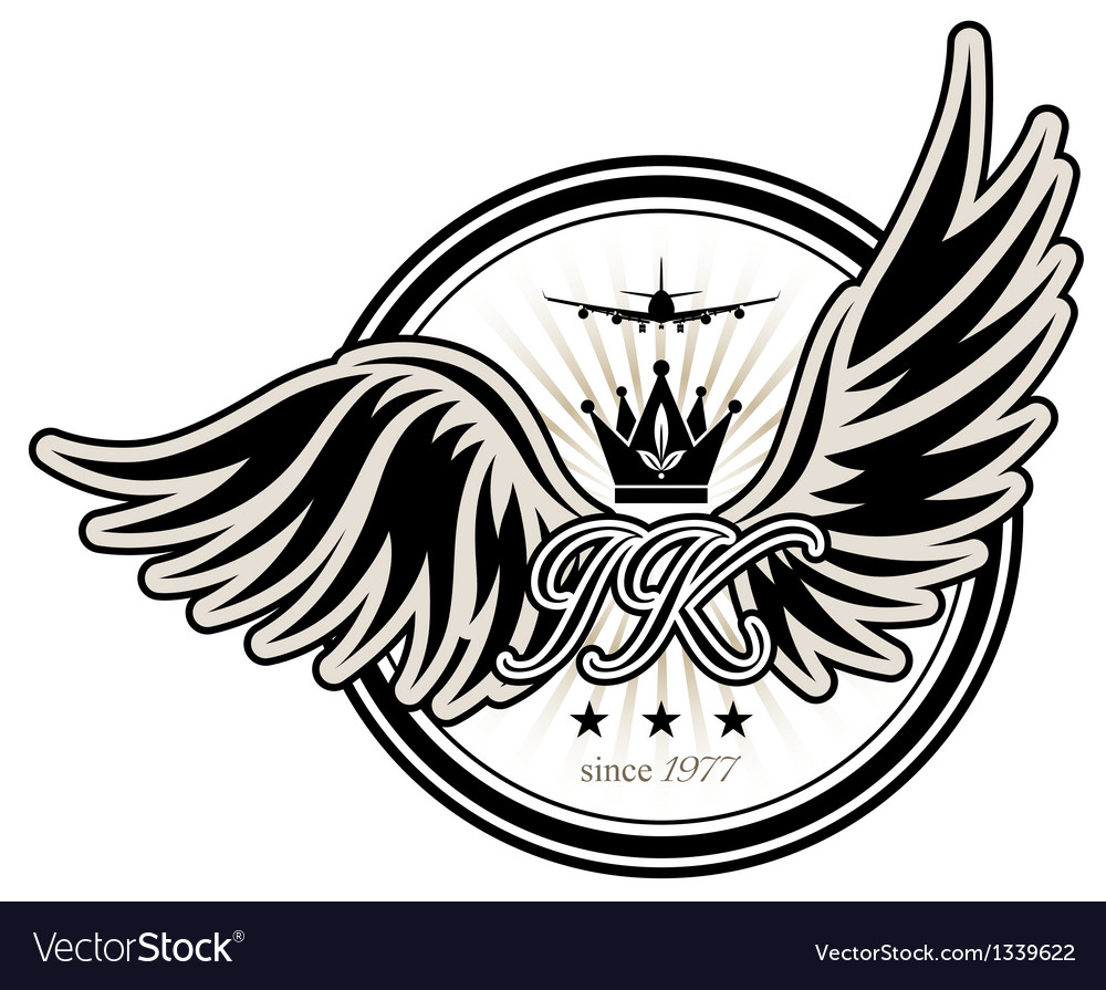 Stamp with wings vector