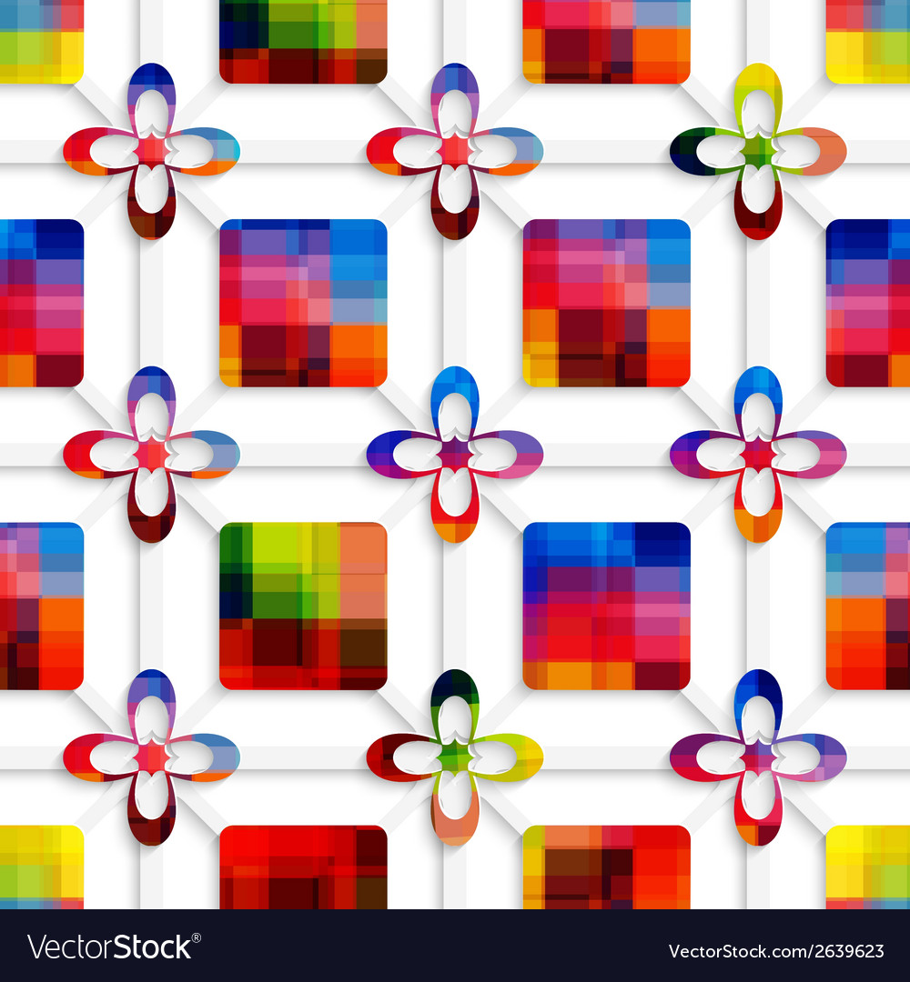 Colorful squares and colorful flowers on net vector