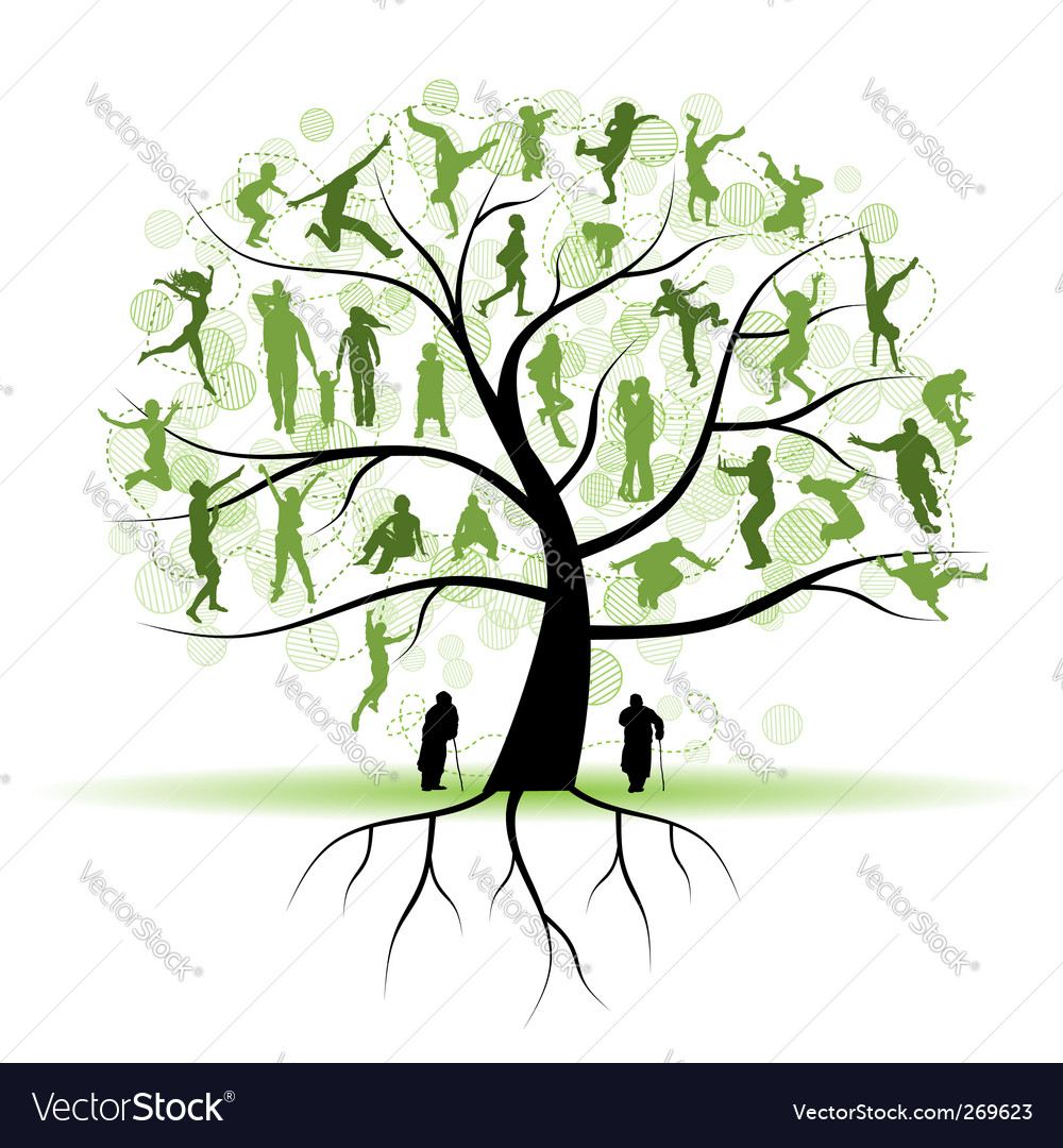 Family tree relatives people silhouettes vector