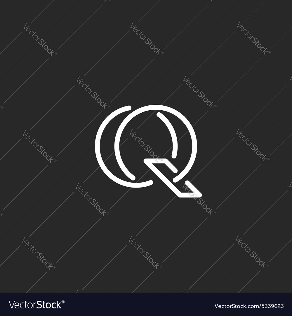 Letter q logo monogram mockup outline emblem for vector