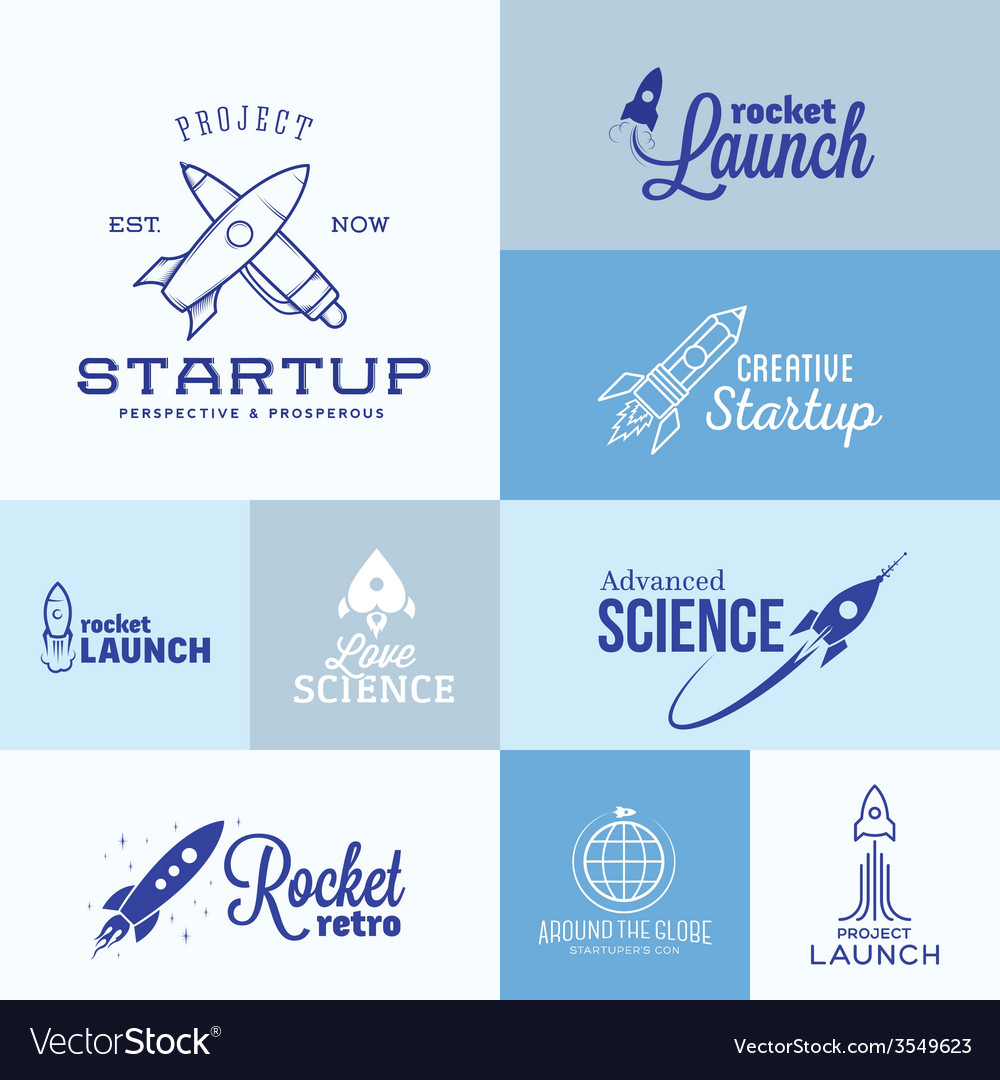 Rocket logo set vector