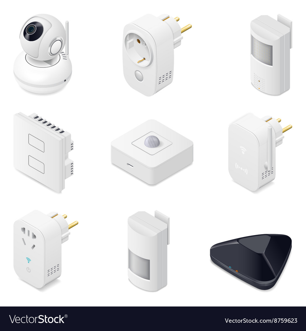 Smart home technology appliances icometric icon vector