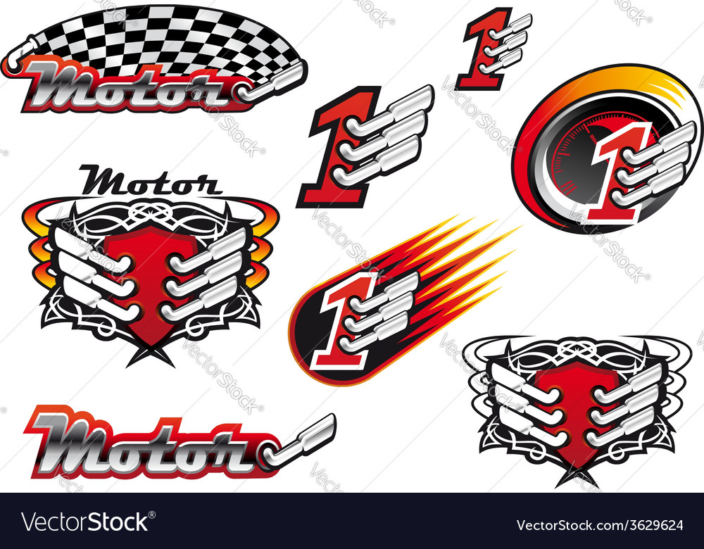 Racing and motocross emblems or symbols vector