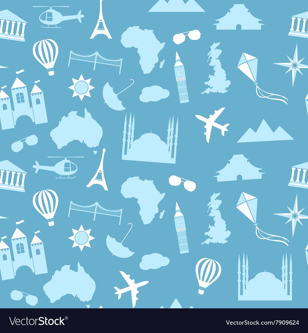 Seamless pattern background travel vector