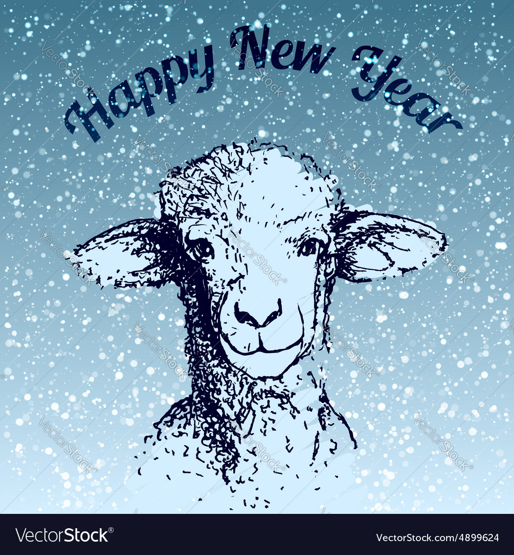 Sheep with snowflake vector
