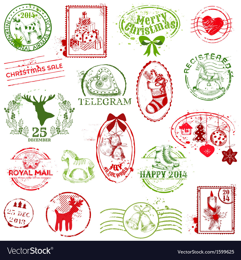 Christmas stamp collection vector