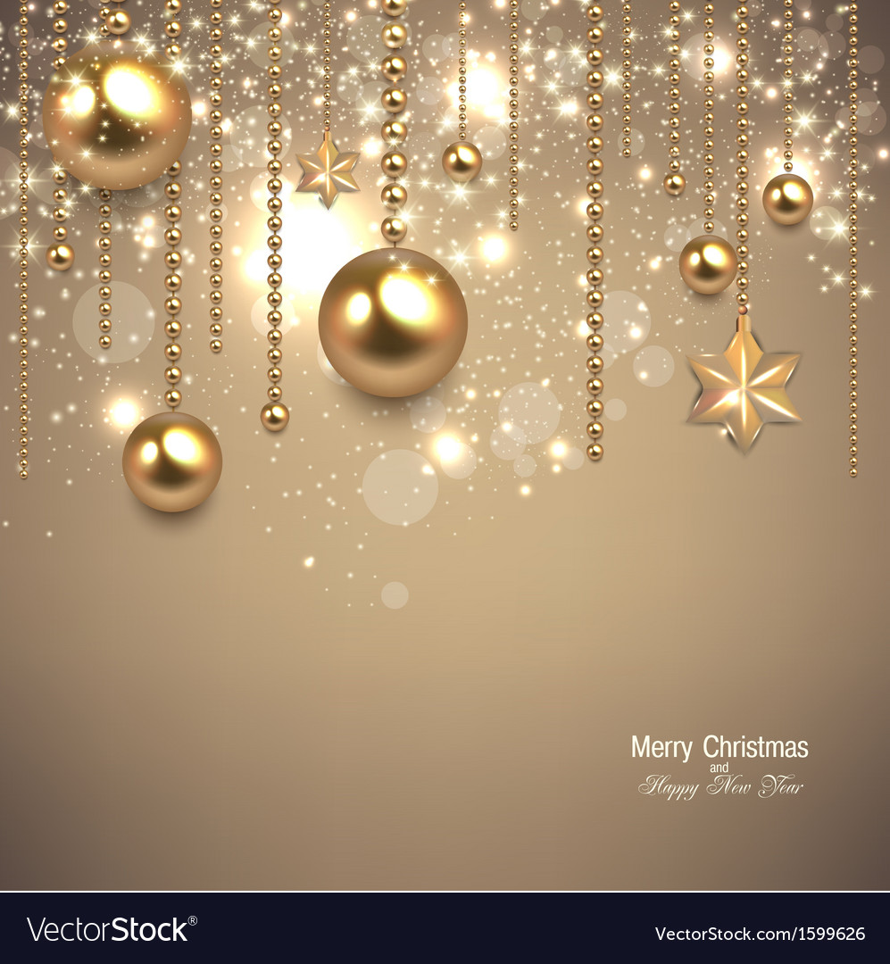 Elegant christmas background with golden baubles vector