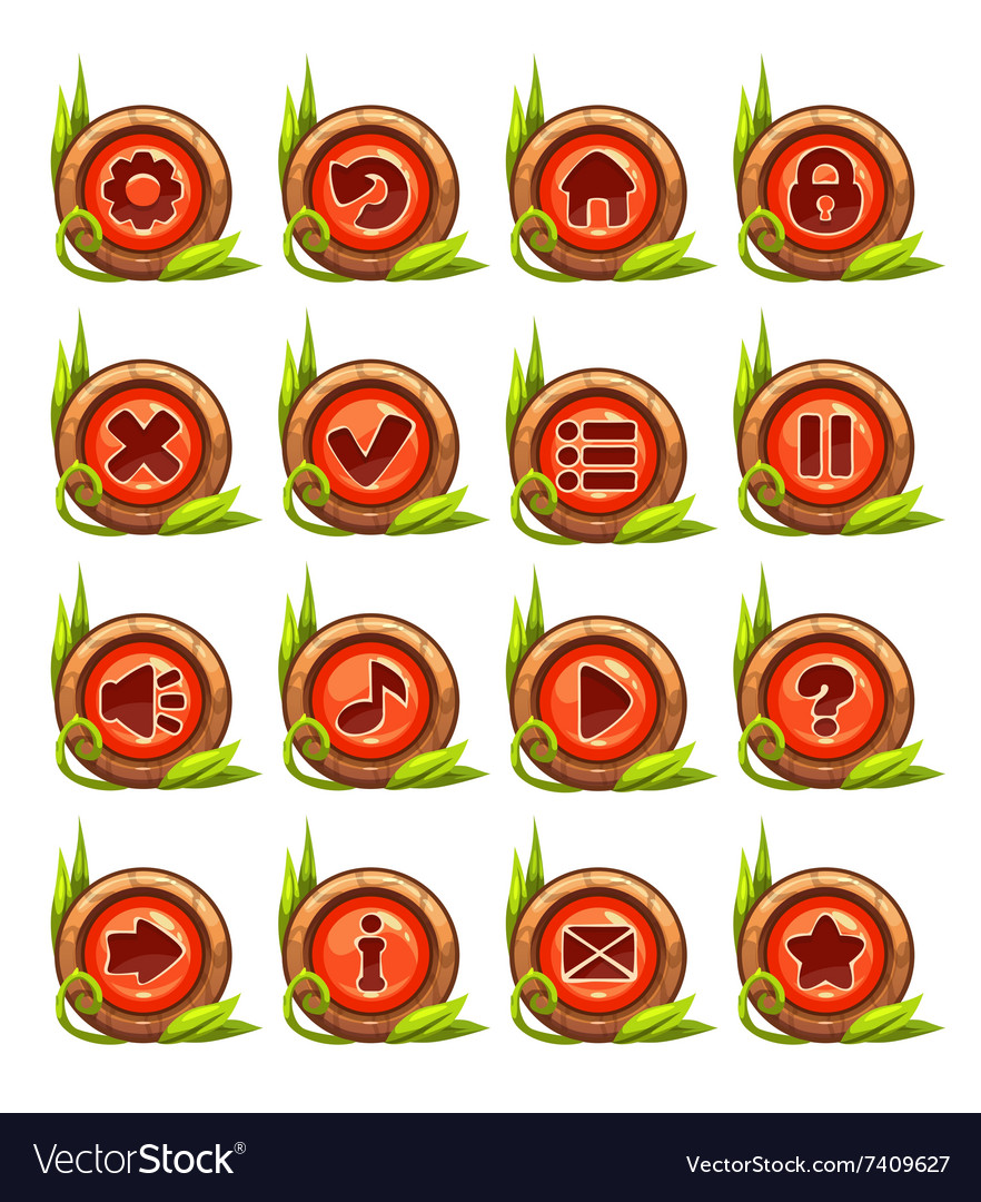Cartoon buttons menu set with red middle vector