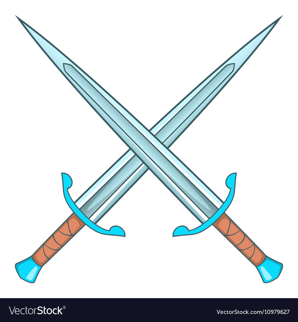 Crossed swords icon cartoon style vector