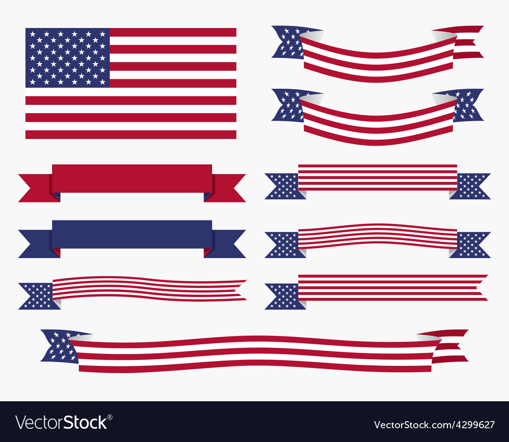 Red white blue american flag ribbon and banner vector