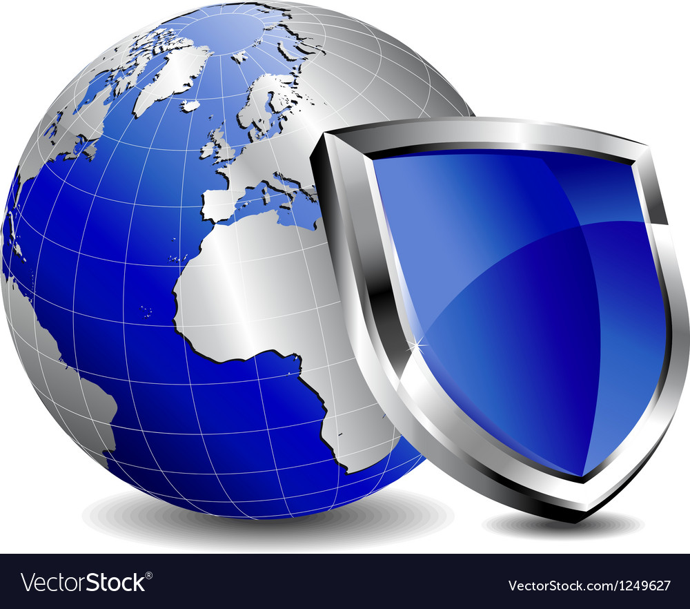 Silver shield protection with silver world vector