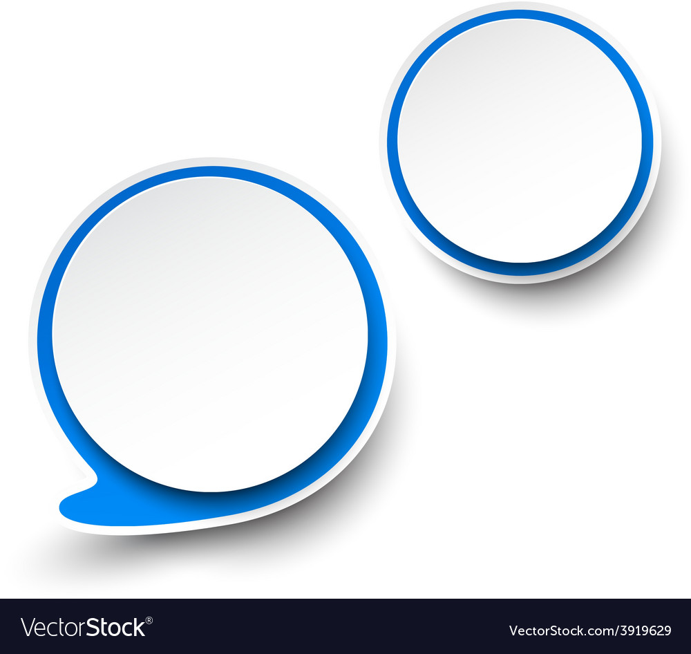 Paper whiteblue round speech bubbles vector