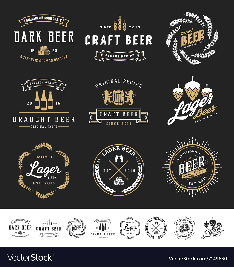 Collection of 9 beer logos vector