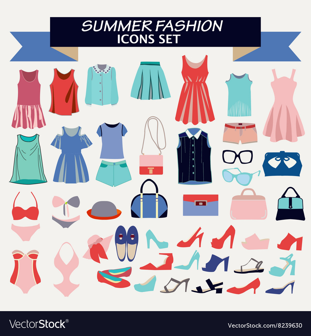 Fashion summer collection of woman clothes vector