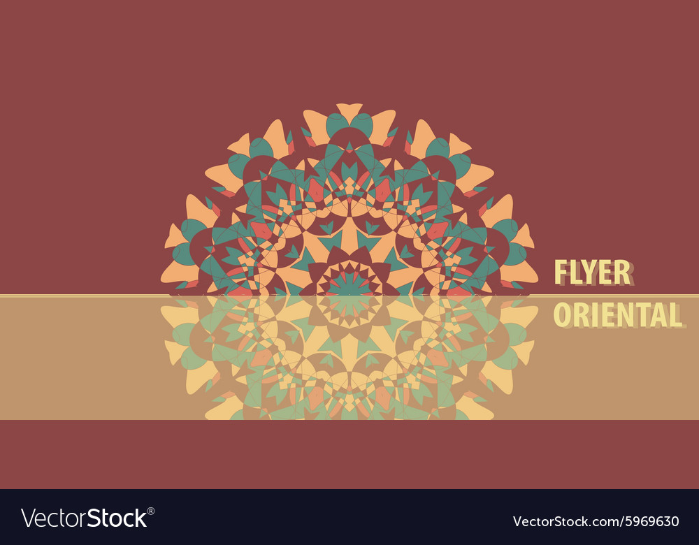 Flyer in warm color abstract retro ornate mandala vector