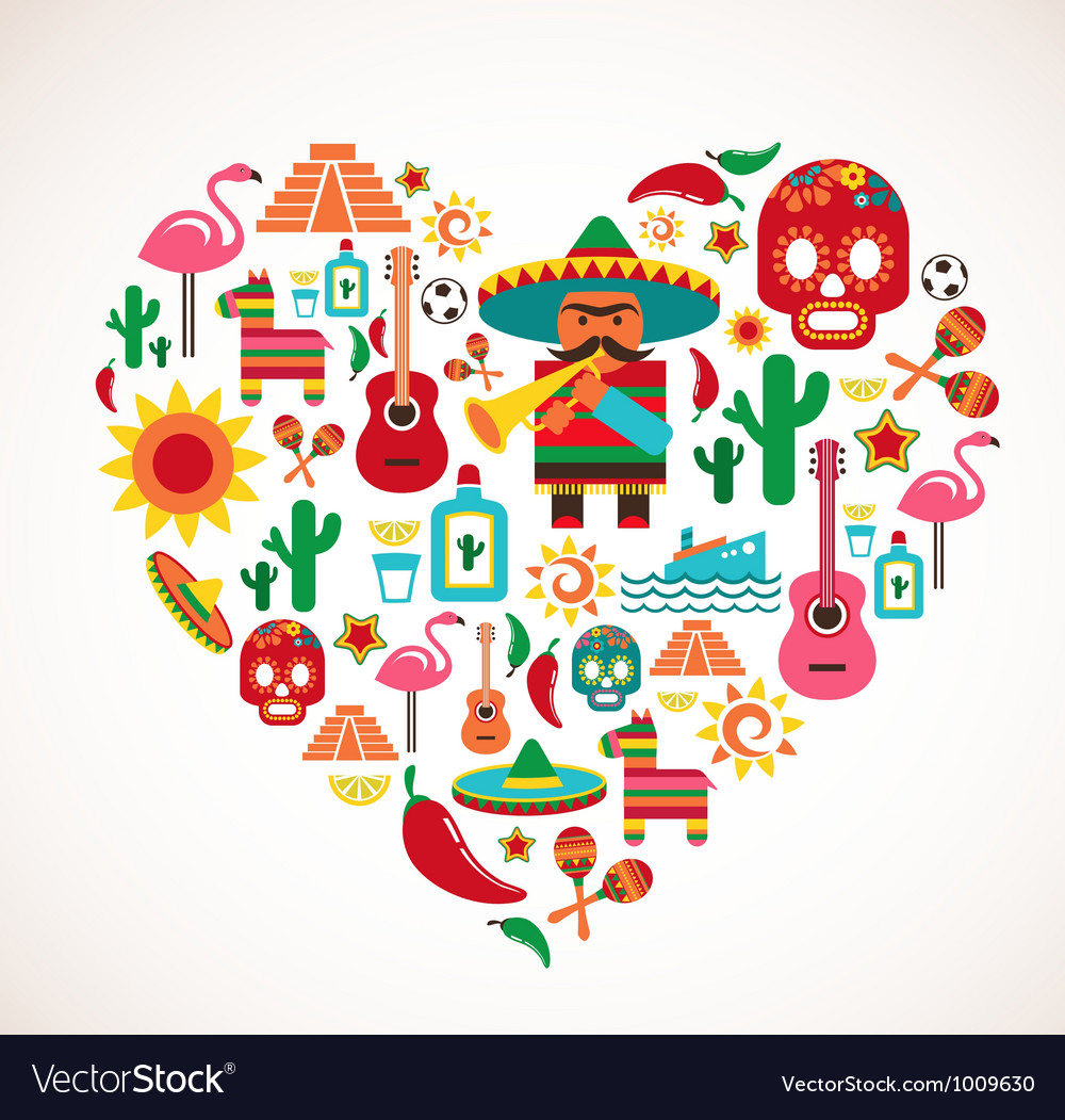 Mexico love  heart with set of icons vector