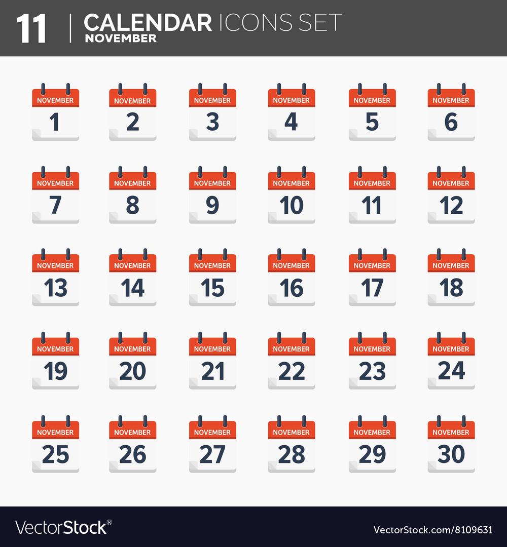 Calendar icons set date and vector