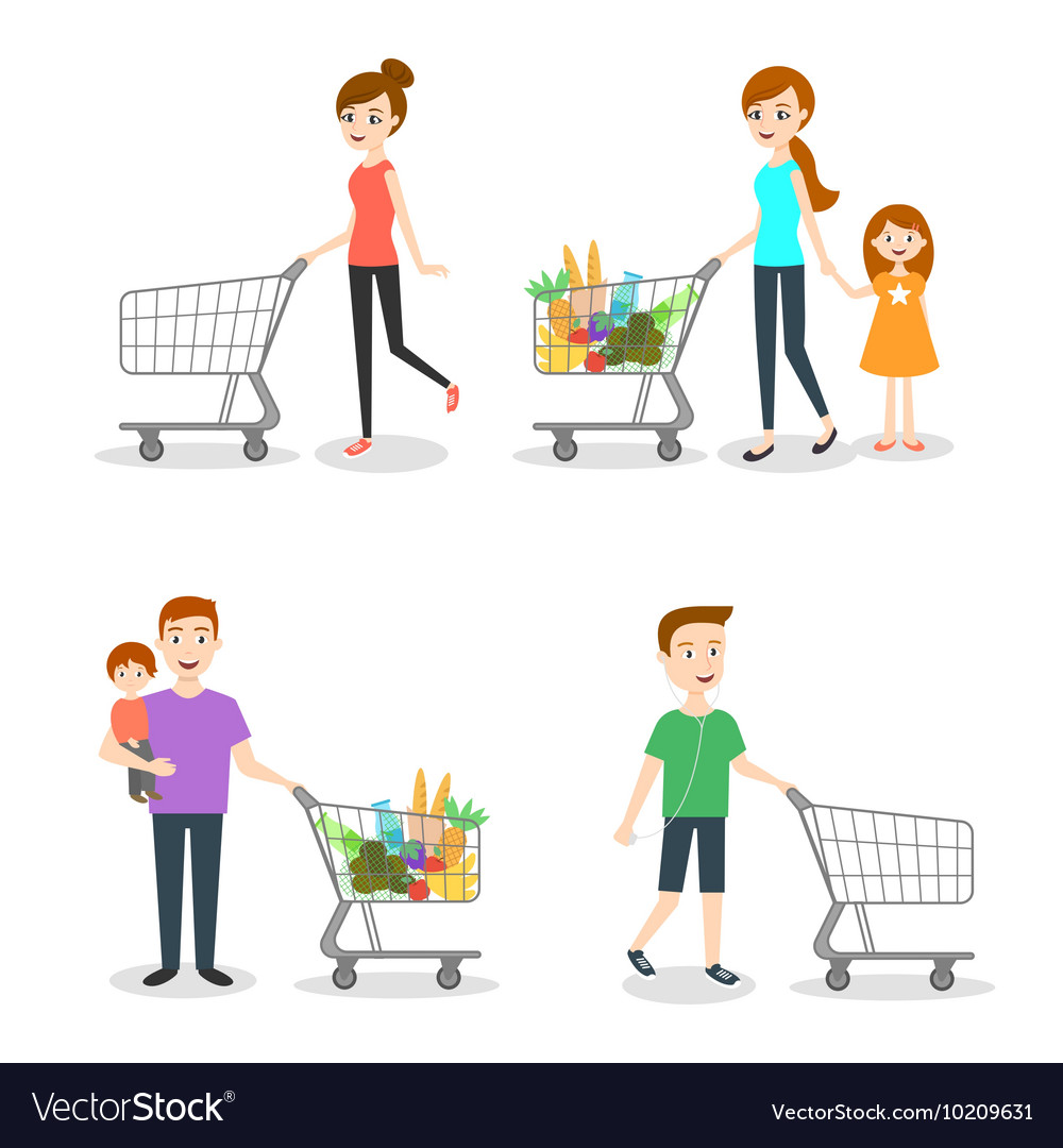 People go shopping at the market vector