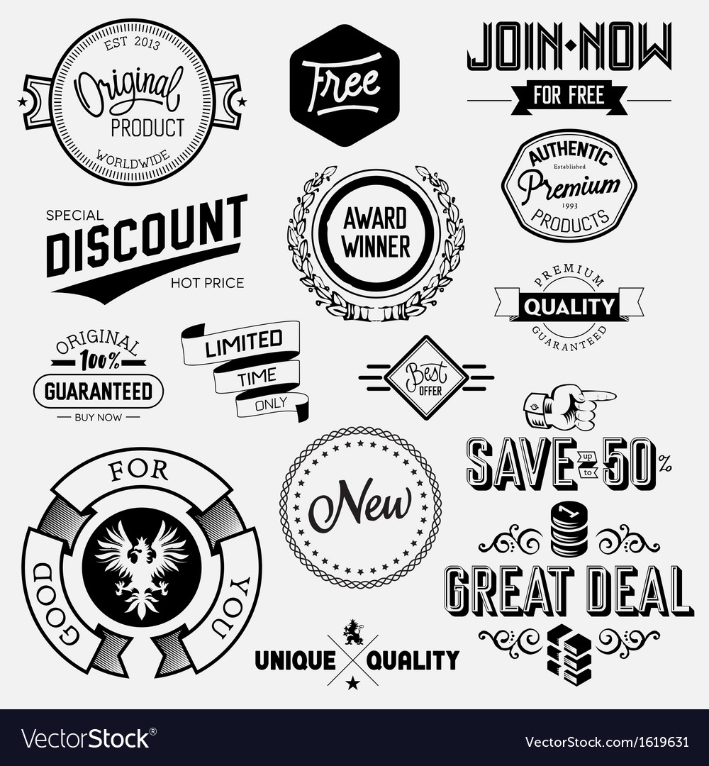 Set of vintage bagdes vector