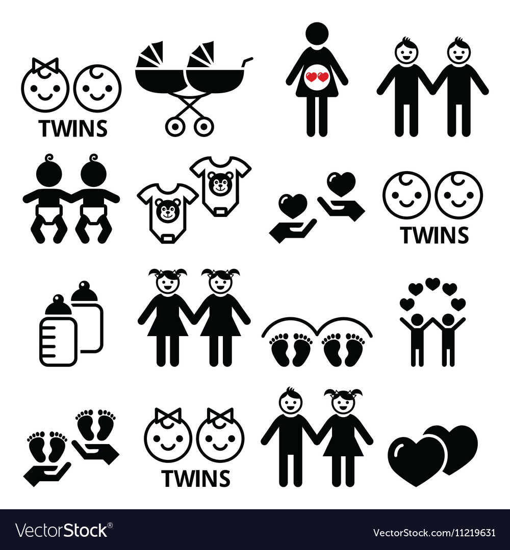 Twin babies icons set  double pram twins vector