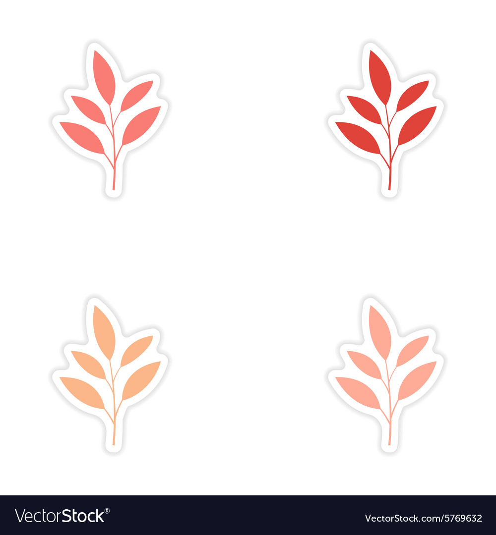 Assembly realistic sticker design on paper leaves vector