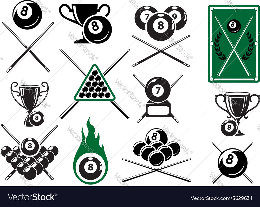 Billiard pool and snooker sports emblems vector