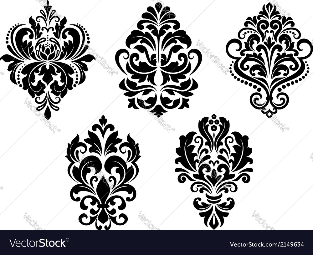 Foliate and floral design elements vector