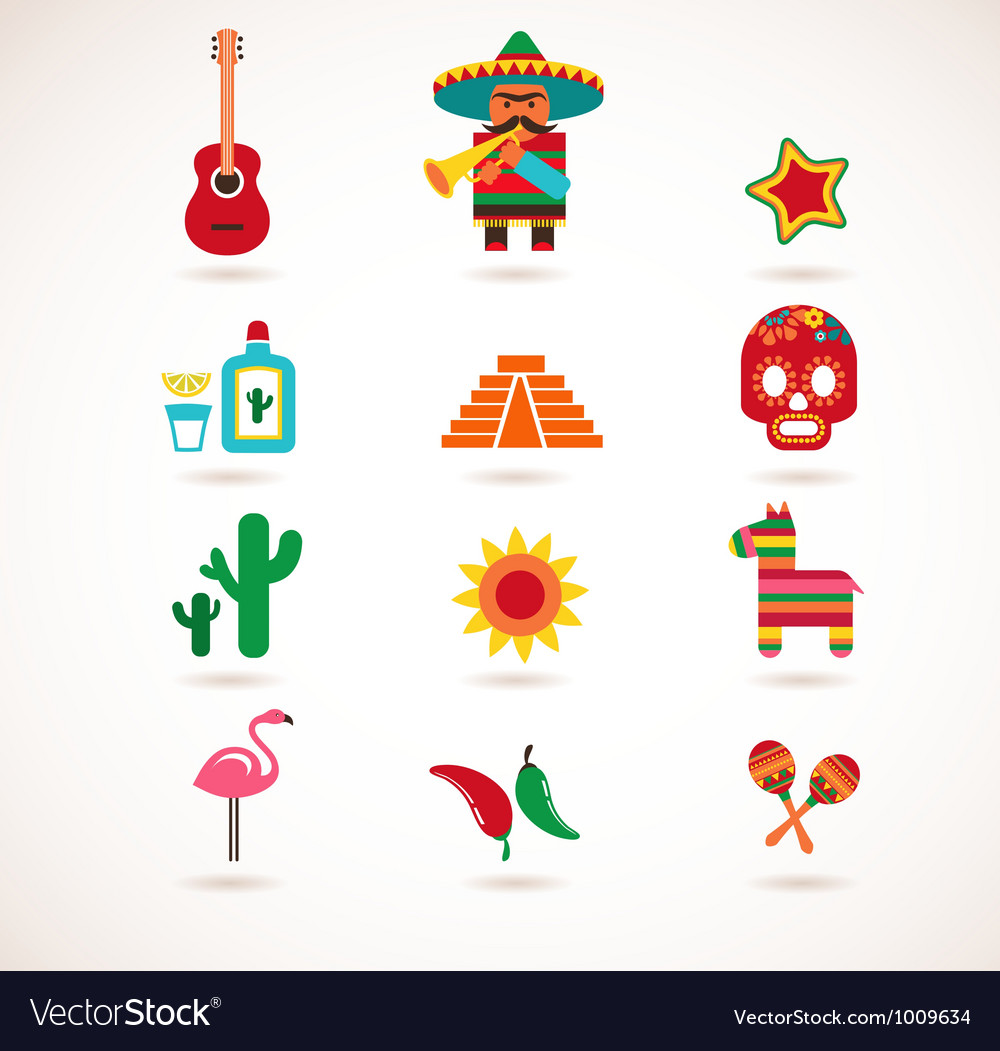 Mexico love  set of icons vector