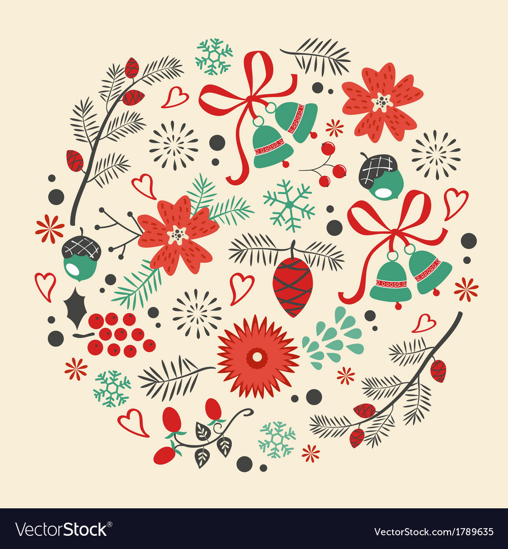Round christmas composition vector