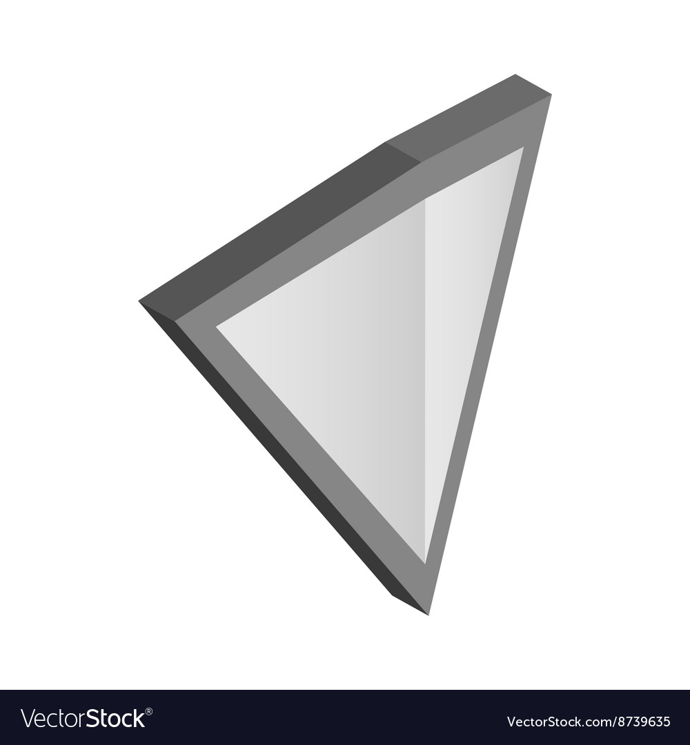 Silver triangular shield icon isometric 3d style vector