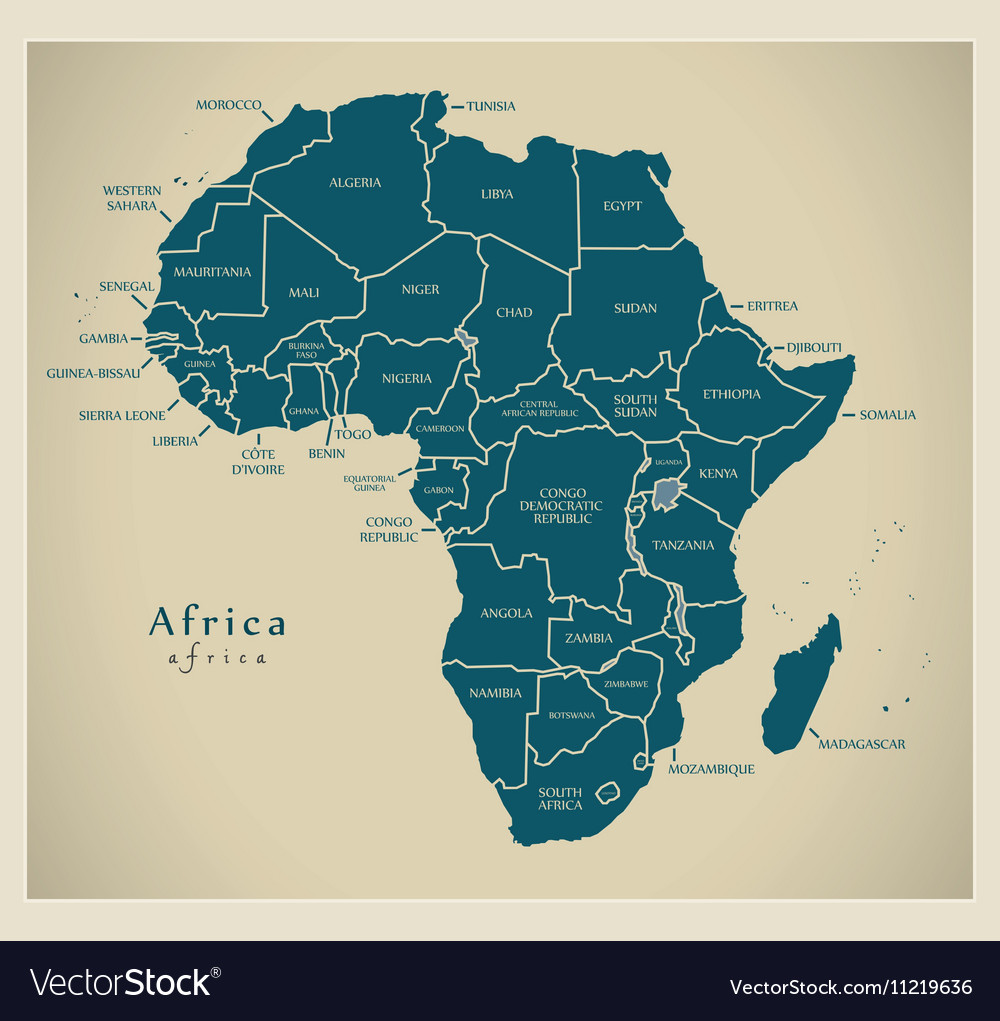 Modern map  africa continent with country labels vector