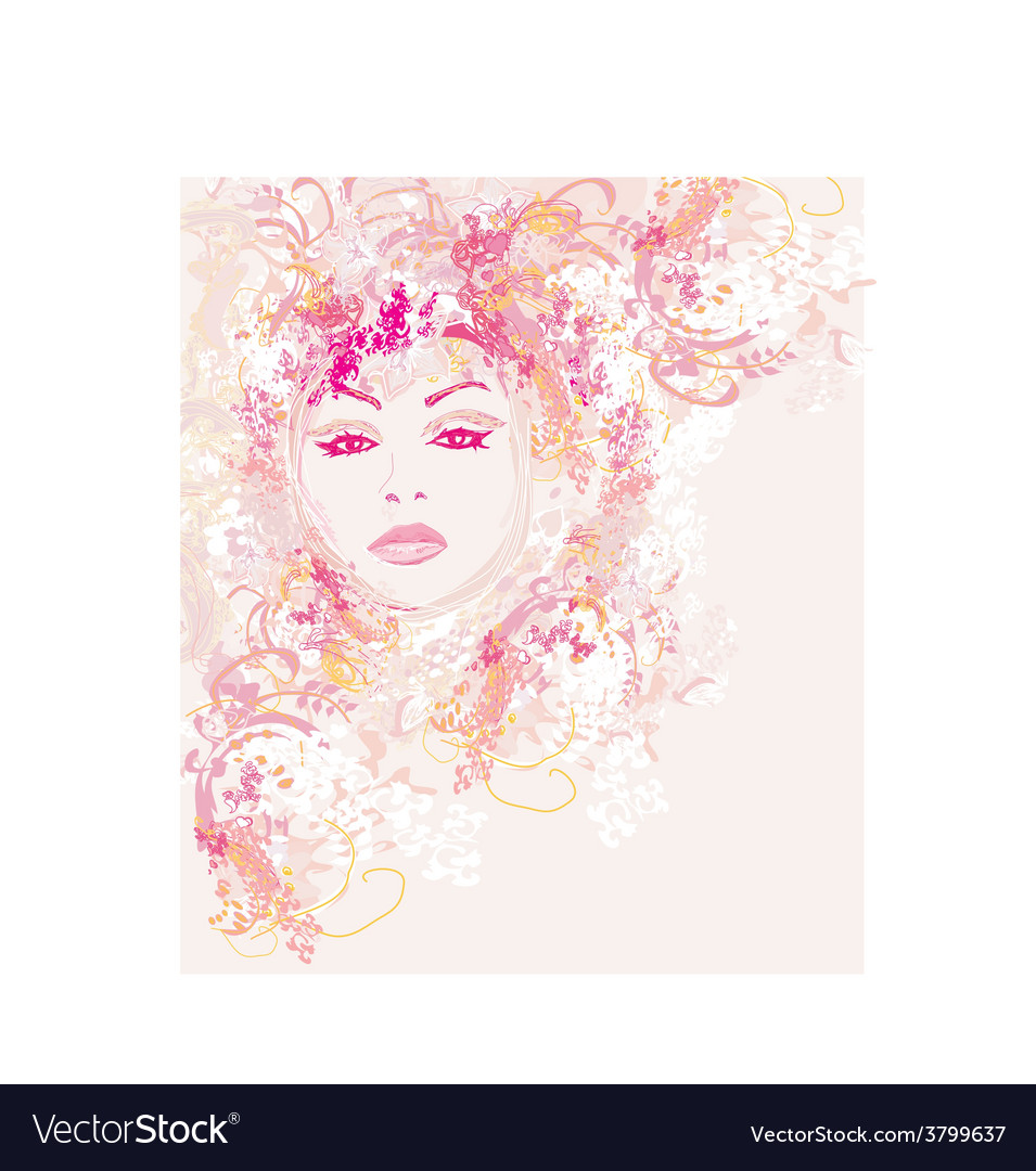 Abstract beautiful woman portrait vector