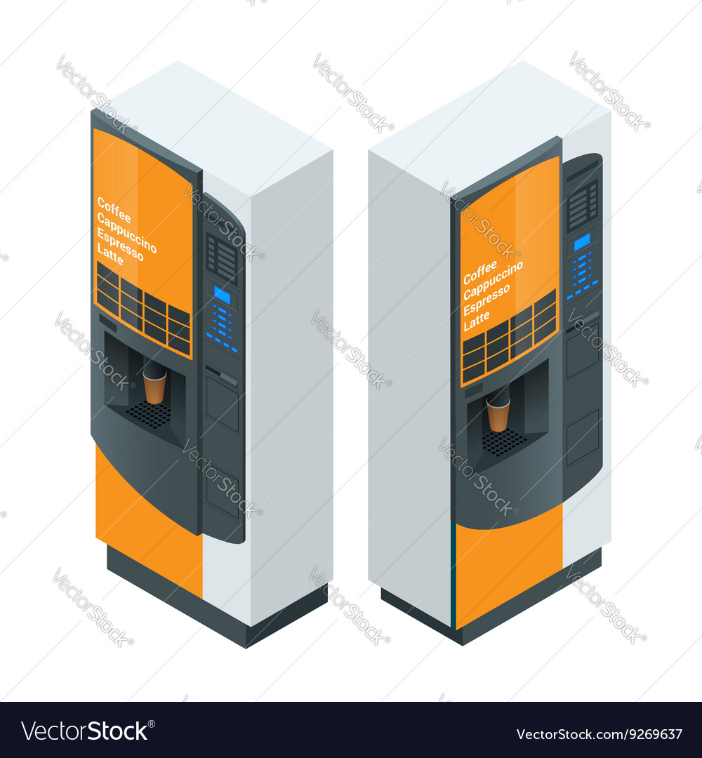 Coffee maker or automatic coffee dispenser flat 3d vector