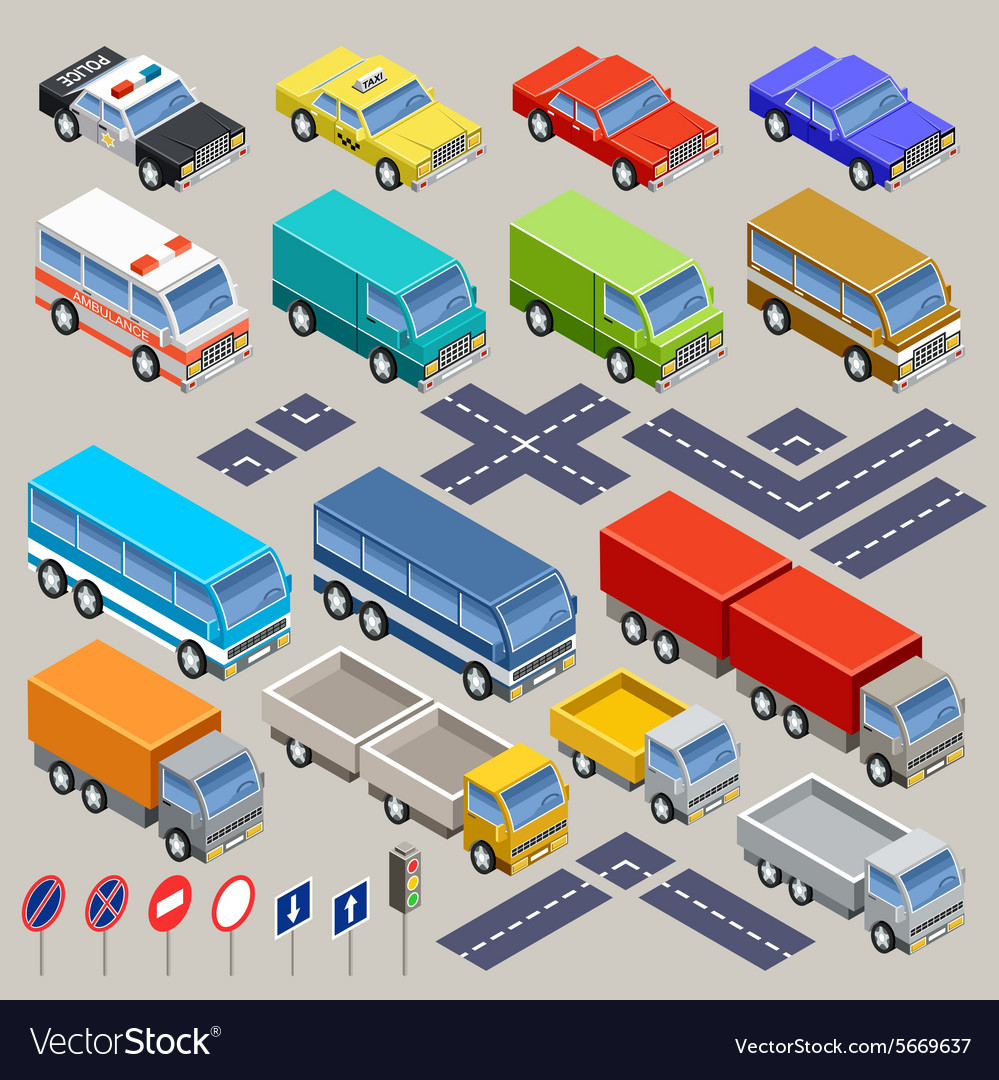 Isometric road set vector