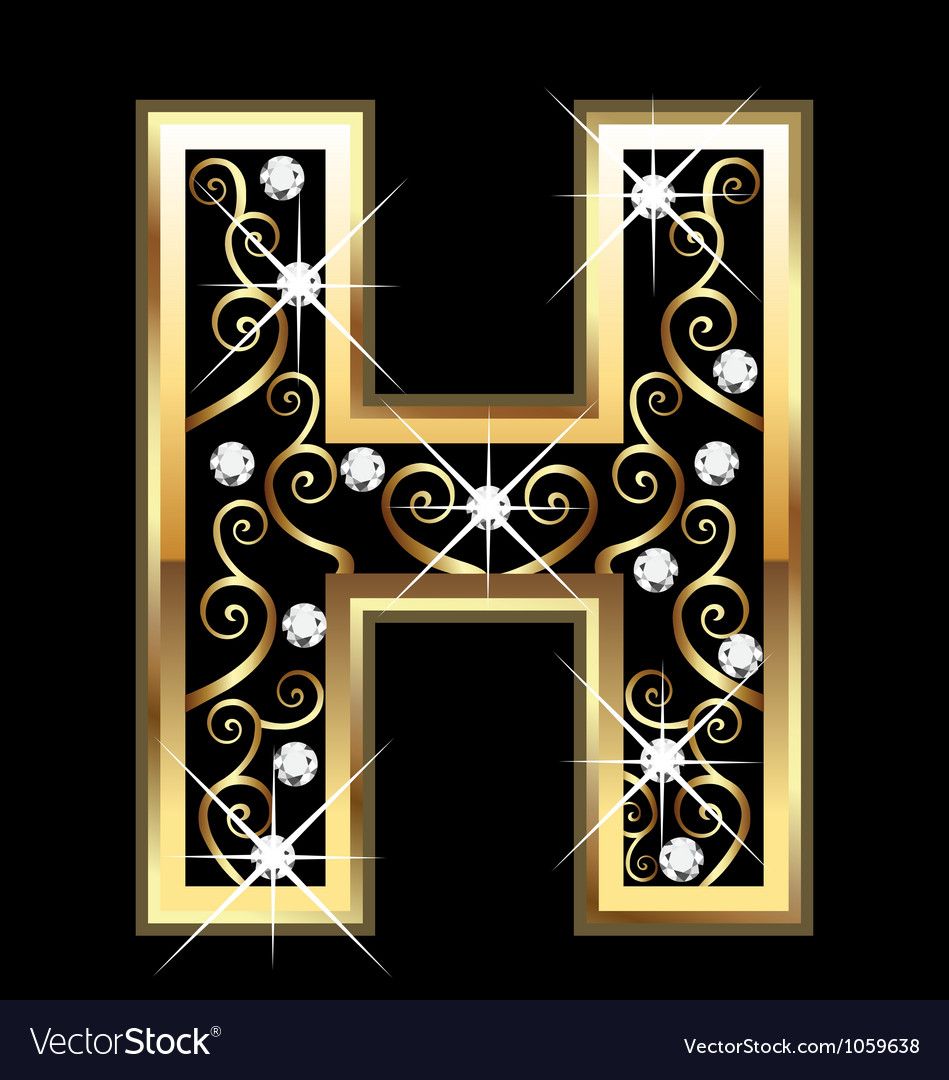 H gold letter with swirly ornaments vector