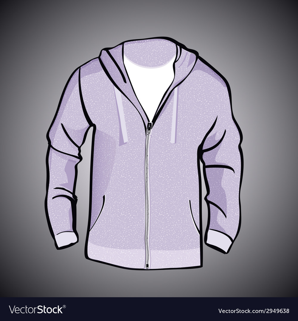 Jacket with hood or sweatshirt template vector