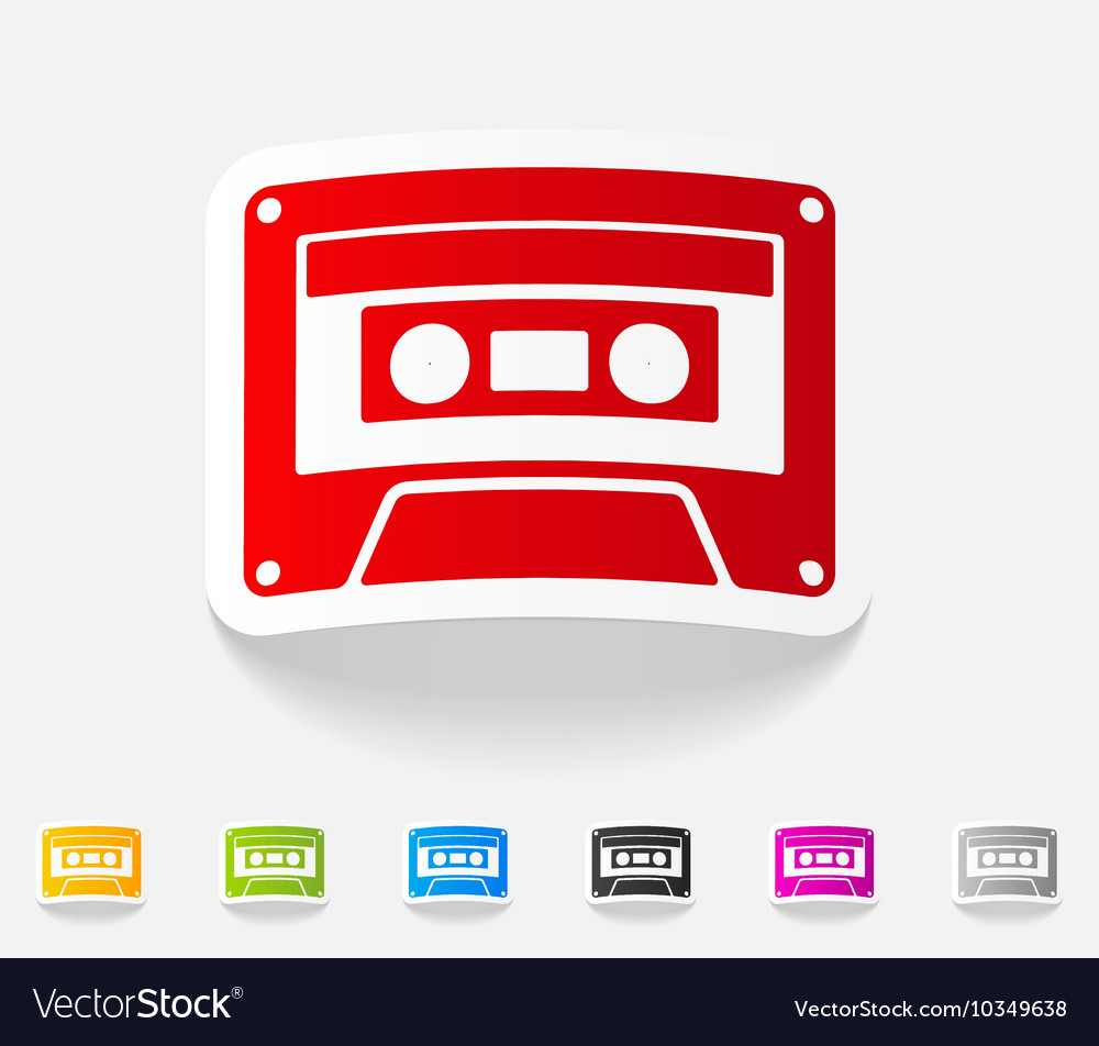 Realistic design element audiocassette vector
