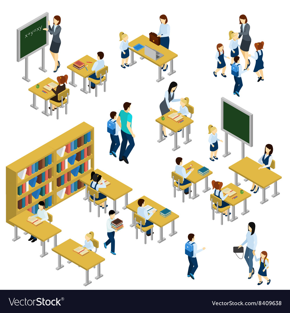 School isometric set vector