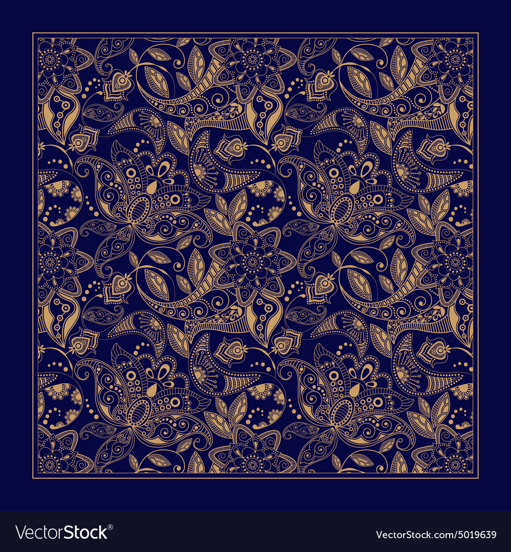 Ornamental paisley pattern design for pocket vector
