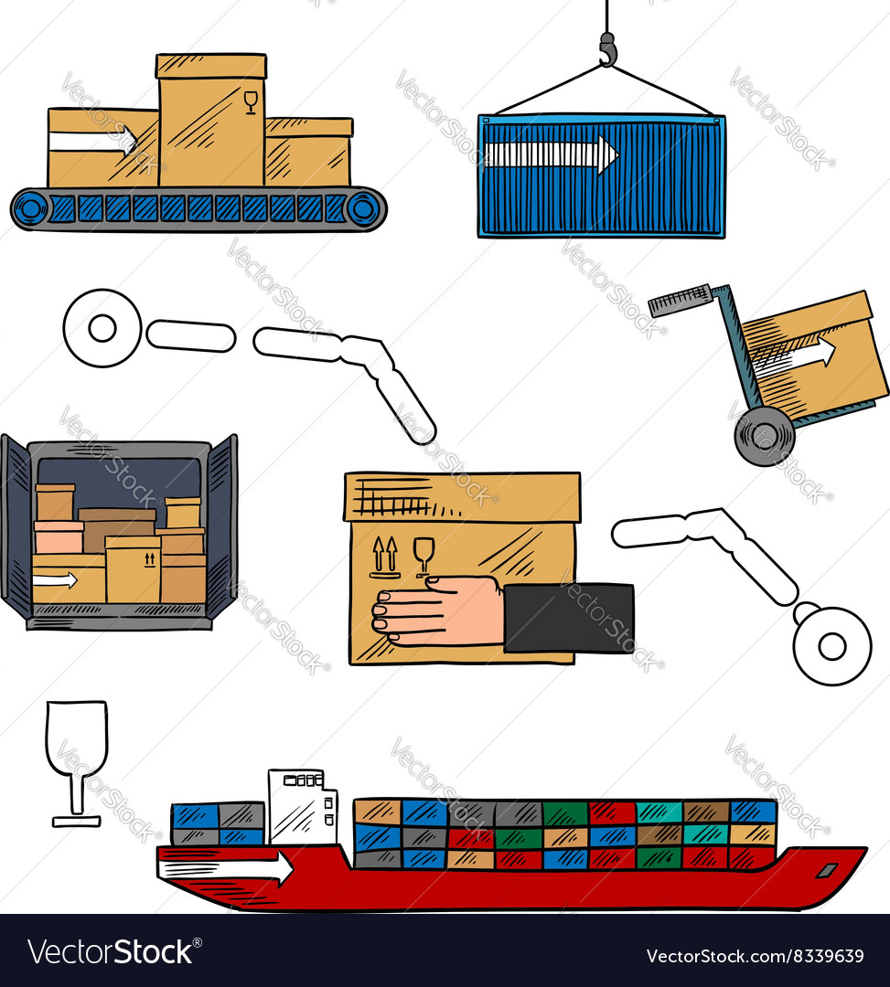 Shipping and courier delivery colorful sketch icon vector