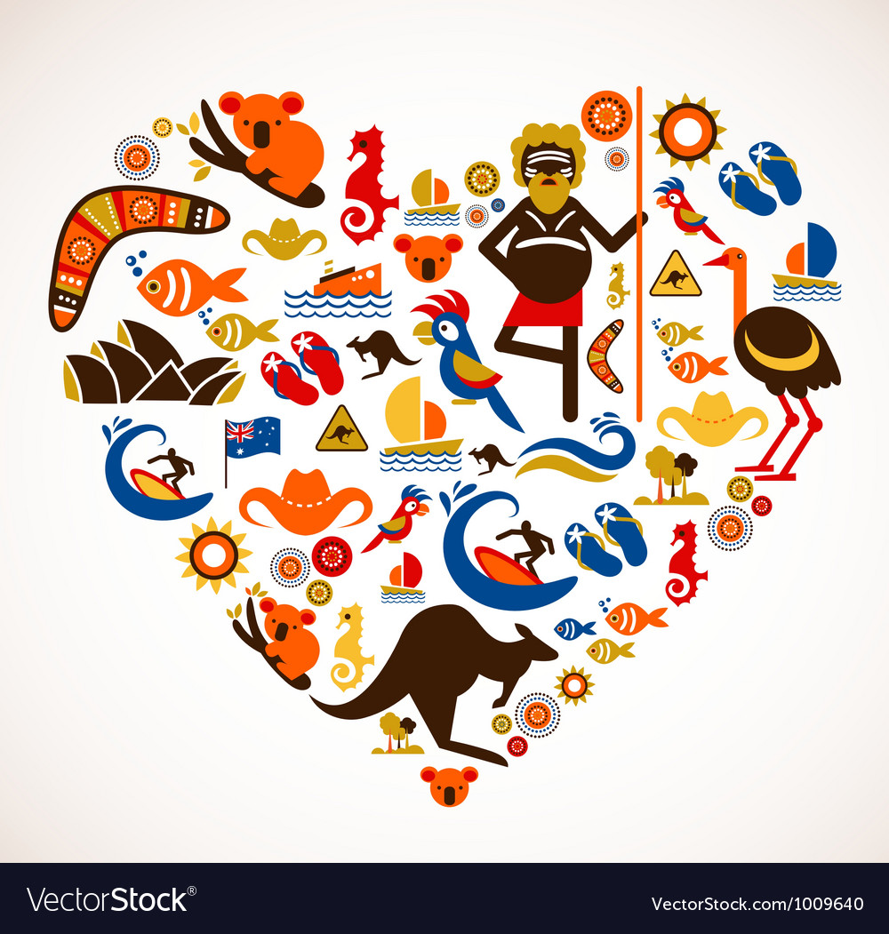 Australia love  heart with set of icons vector