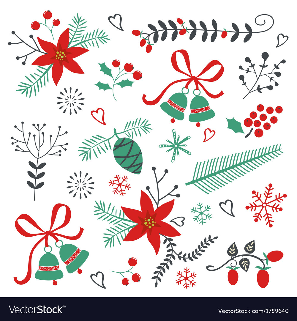 Collection of christmas and new year elements vector