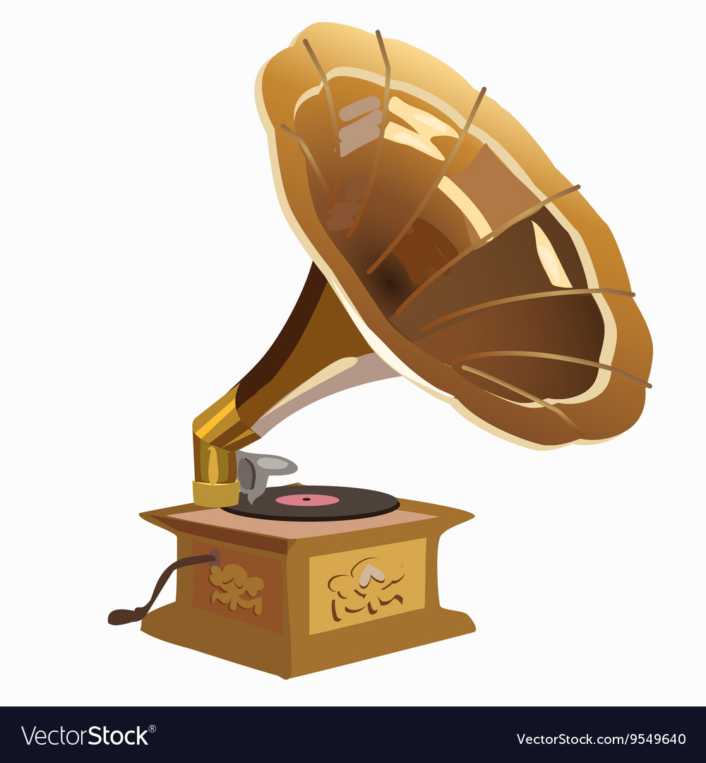 Golden vintage gramophone closeup vector