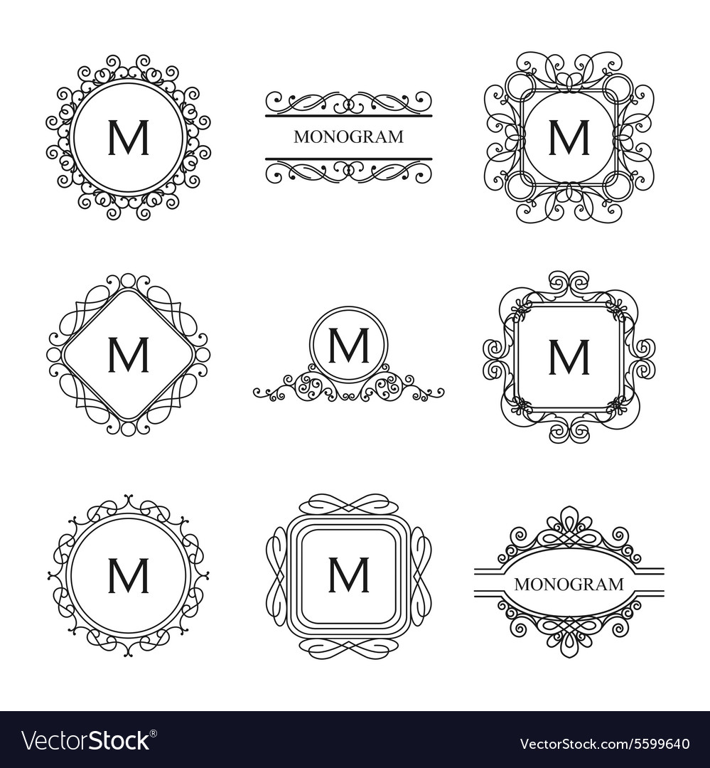 Set of outline monograms and logo design templates vector